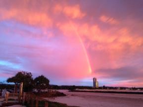 Pink sky rainbow